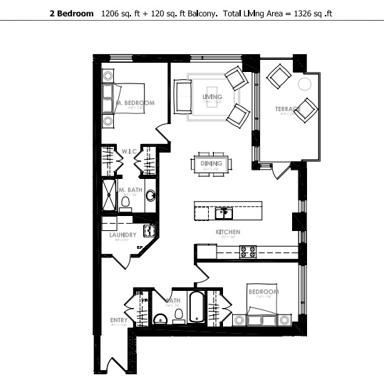 A Two Bedroom South Facing Unit