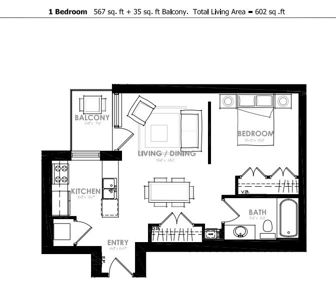 Interior Facing One Bedroom Unit